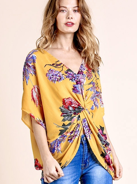 Honey Mix Floral Twisted Back Top