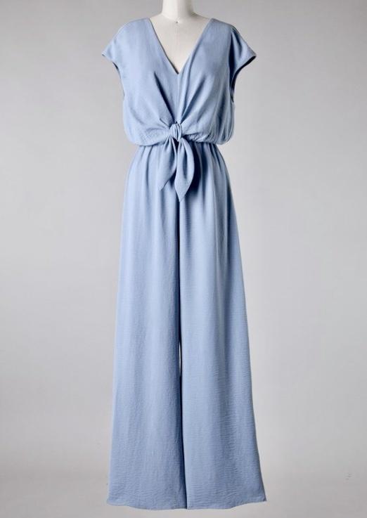Misty Blue Front Tie Jumpsuit