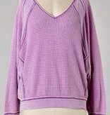 Lavender Waffle Knit Pullover