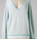 Light Aqua Waffle Knit Pullover