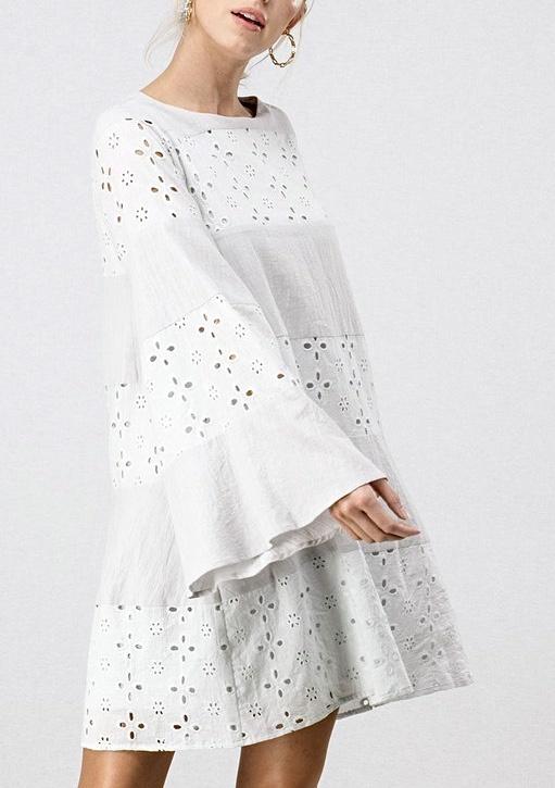 Light Grey Teardrop Cutout Bell Sleeve Dress