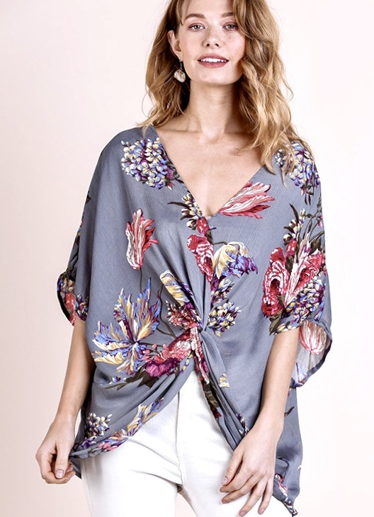 Cool Grey Floral Twisted Back Top