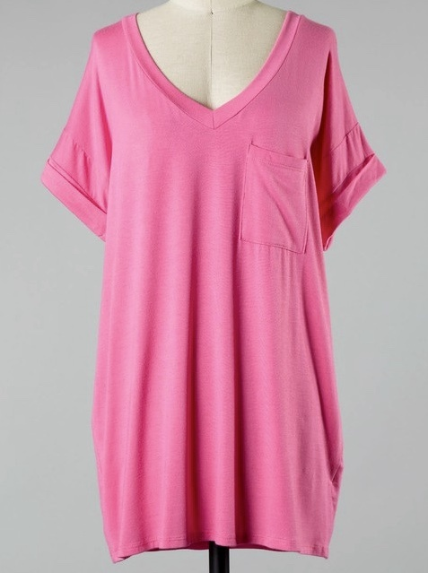 Simple V-Neck Pocket Tee Candy Wrap
