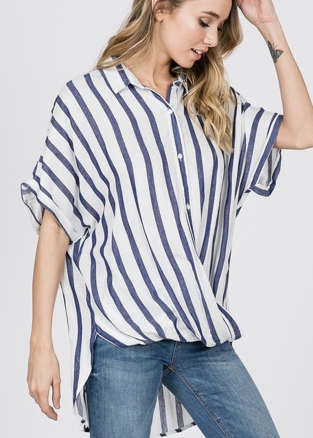 Denim Striped Twisted Hem Shirt