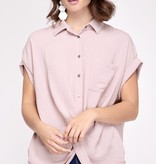 Rose Dolman Sleeve Button Up Top