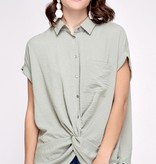 Misty Olive Dolman Sleeve Button Up Top