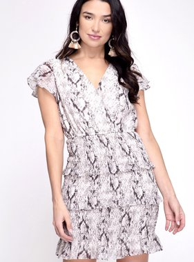 Grey Snake Print Ruffled Sleeve Dress