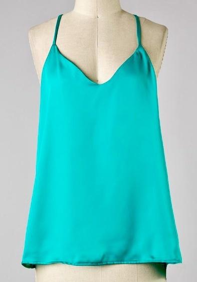 Turquoise Satin Cami Top