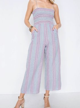 Natural Mix Striped Jumpsuit