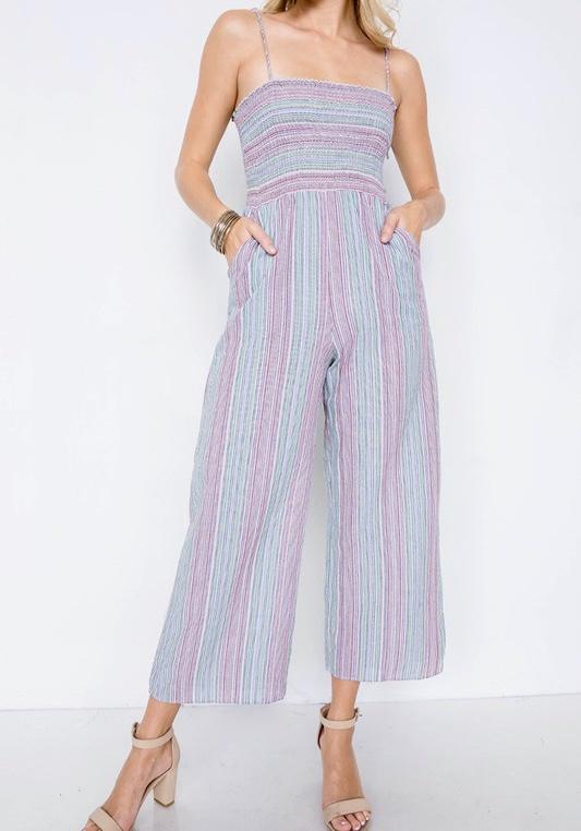 Natural Mix Striped Jumpsuit