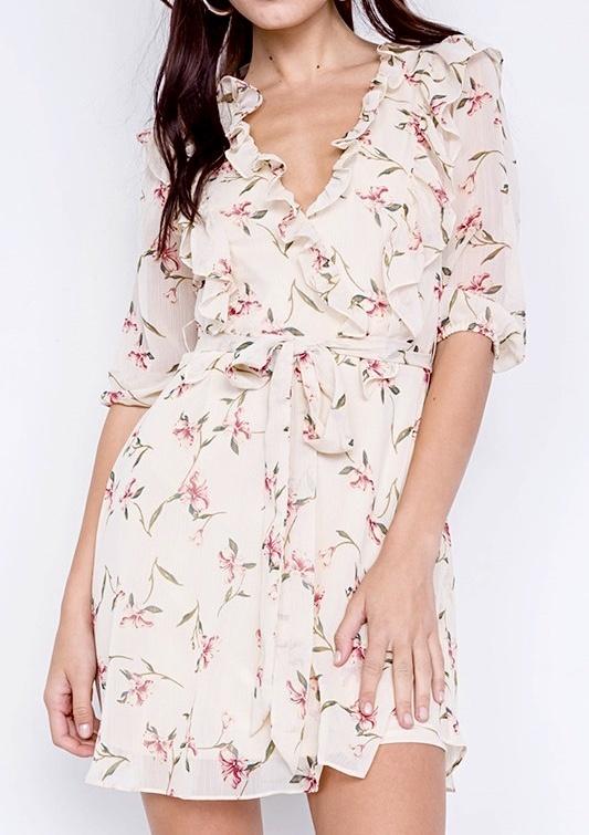 Ivory Floral Frills Details Dress