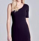 Black Form Fitting One Shoulder Dress
