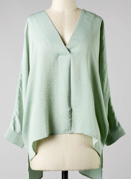Mint Hi-Low LS V-Neck Top