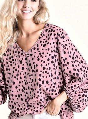 Blush Dalmatian Bubble Sleeve Top