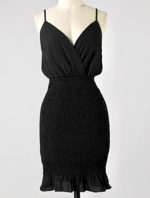 Black Ruffle/Cinched Body Con Dress