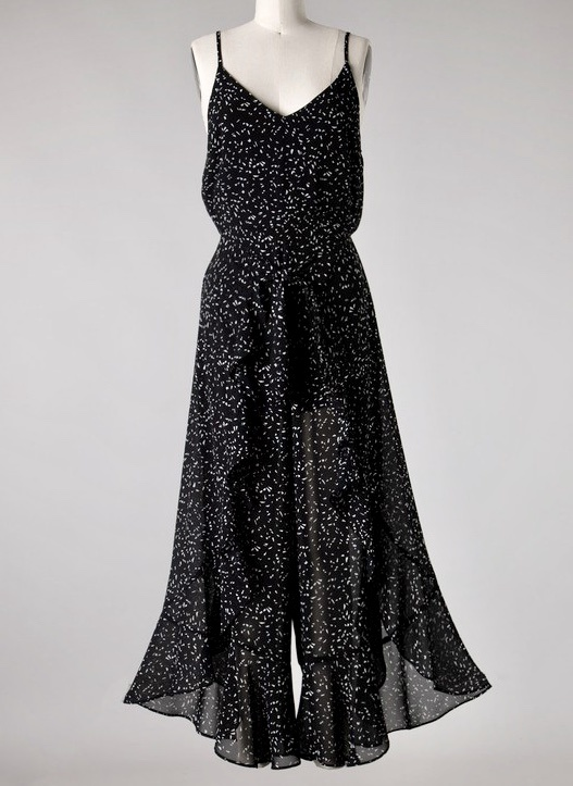 Black Printed Woven Flare Jumpsuit