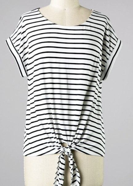Off White Stripe Tie Front Top