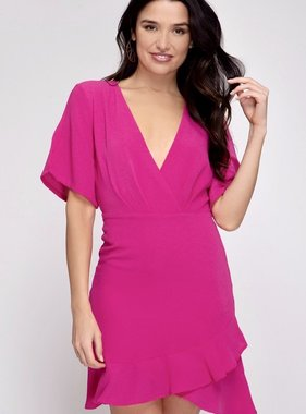 Fuchsia Flare Sleeve Dress