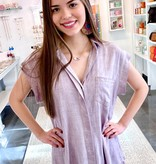 Mauve Washed Button Up SS Top