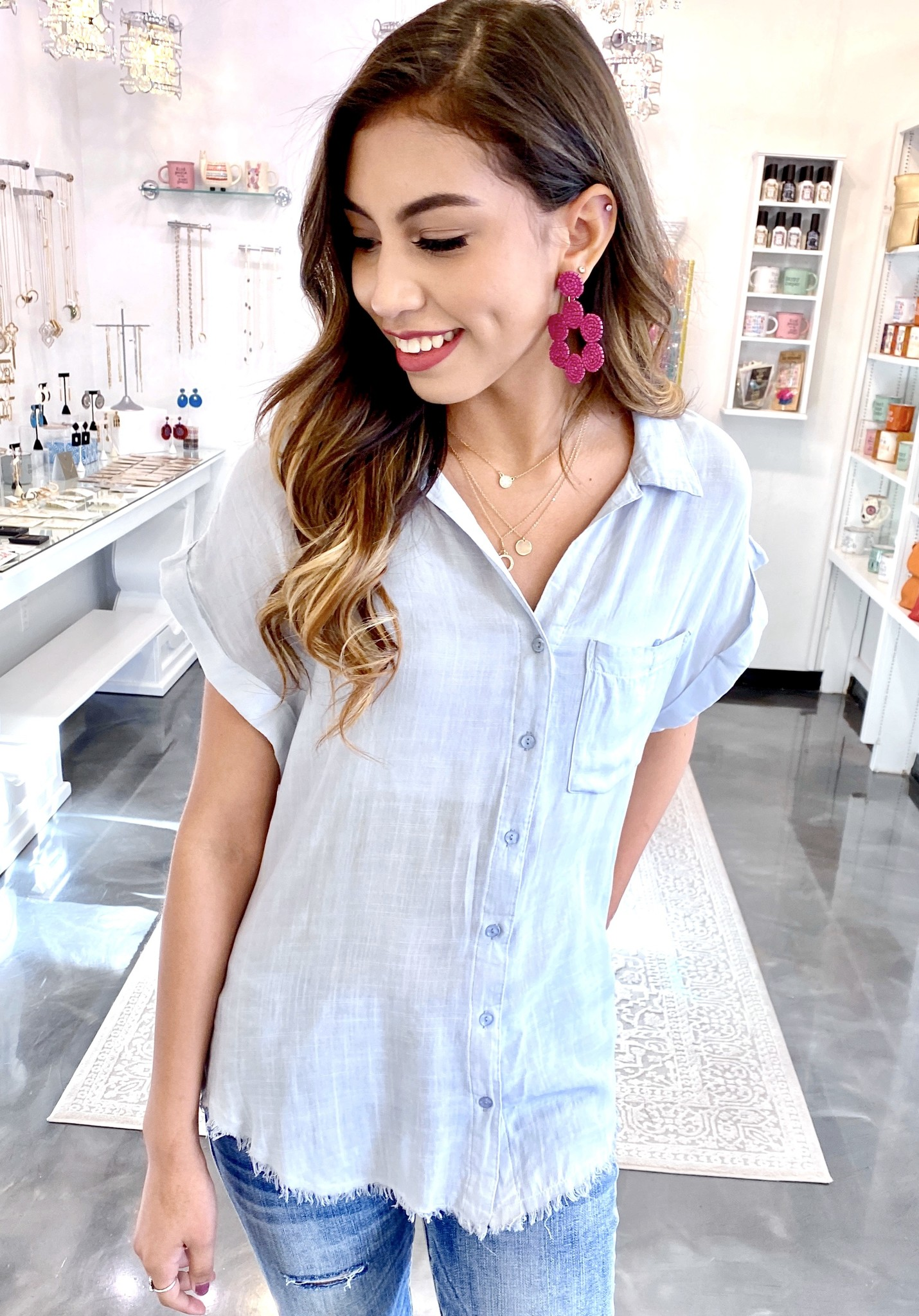 Silver Washed Button Up SS Top