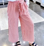 Red Striped Tie Waist Pants