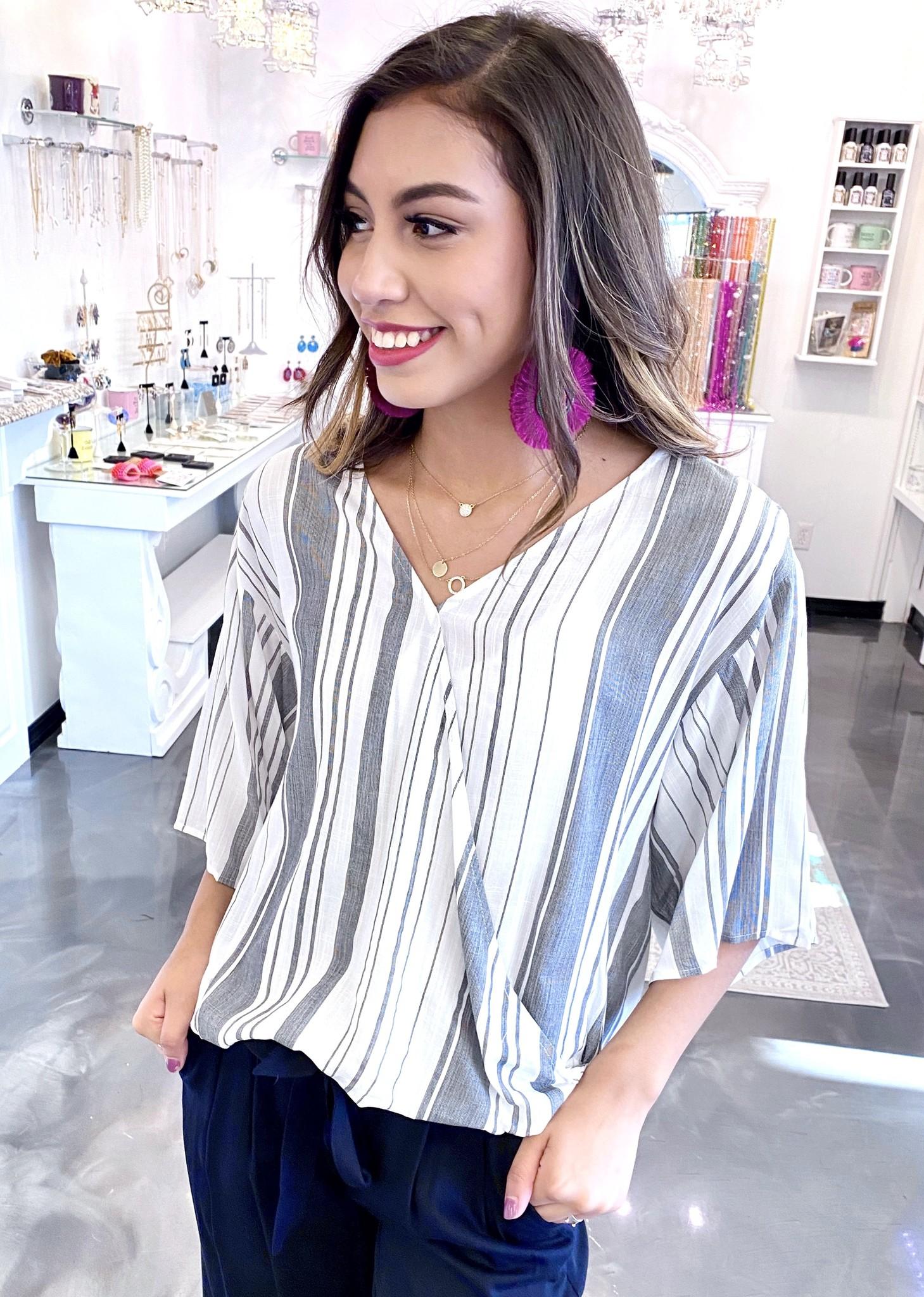Black Striped 3/4 Sleeve Top