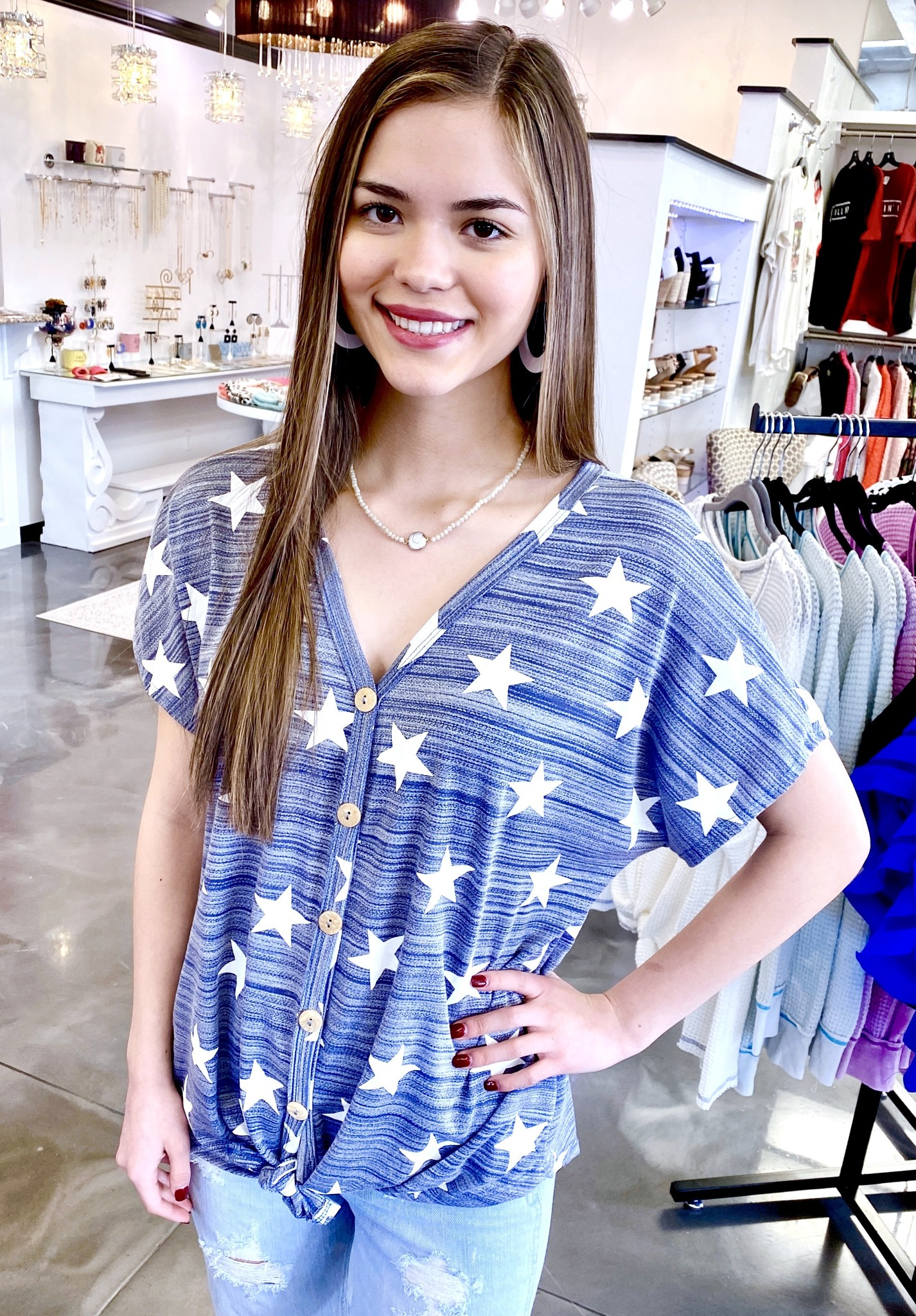 Denim Star Printed Knotted Top