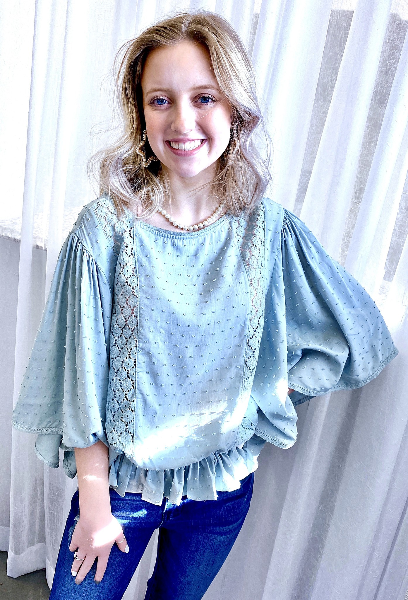 Faded Teal Cutout Detail Wing Sleeved Top