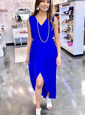 Royal Blue V-Back Maxi Dress