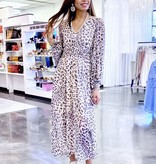 Cream Leopard Print Maxi Dress