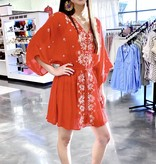 Red Floral Embroidered Bell Sleeve Dress