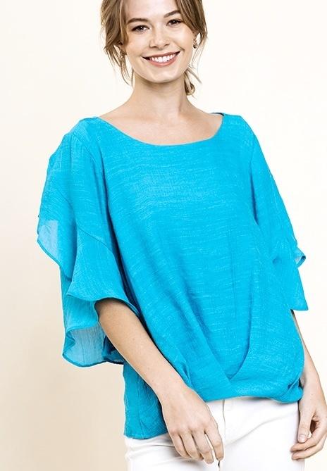 Turquoise Ruffle Sleeve Textured Top