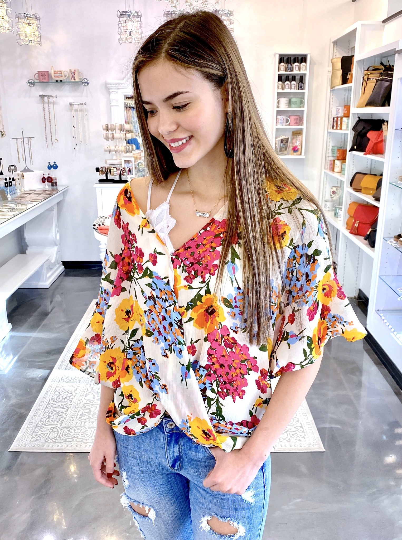 Off White Mix Floral Crossover Top