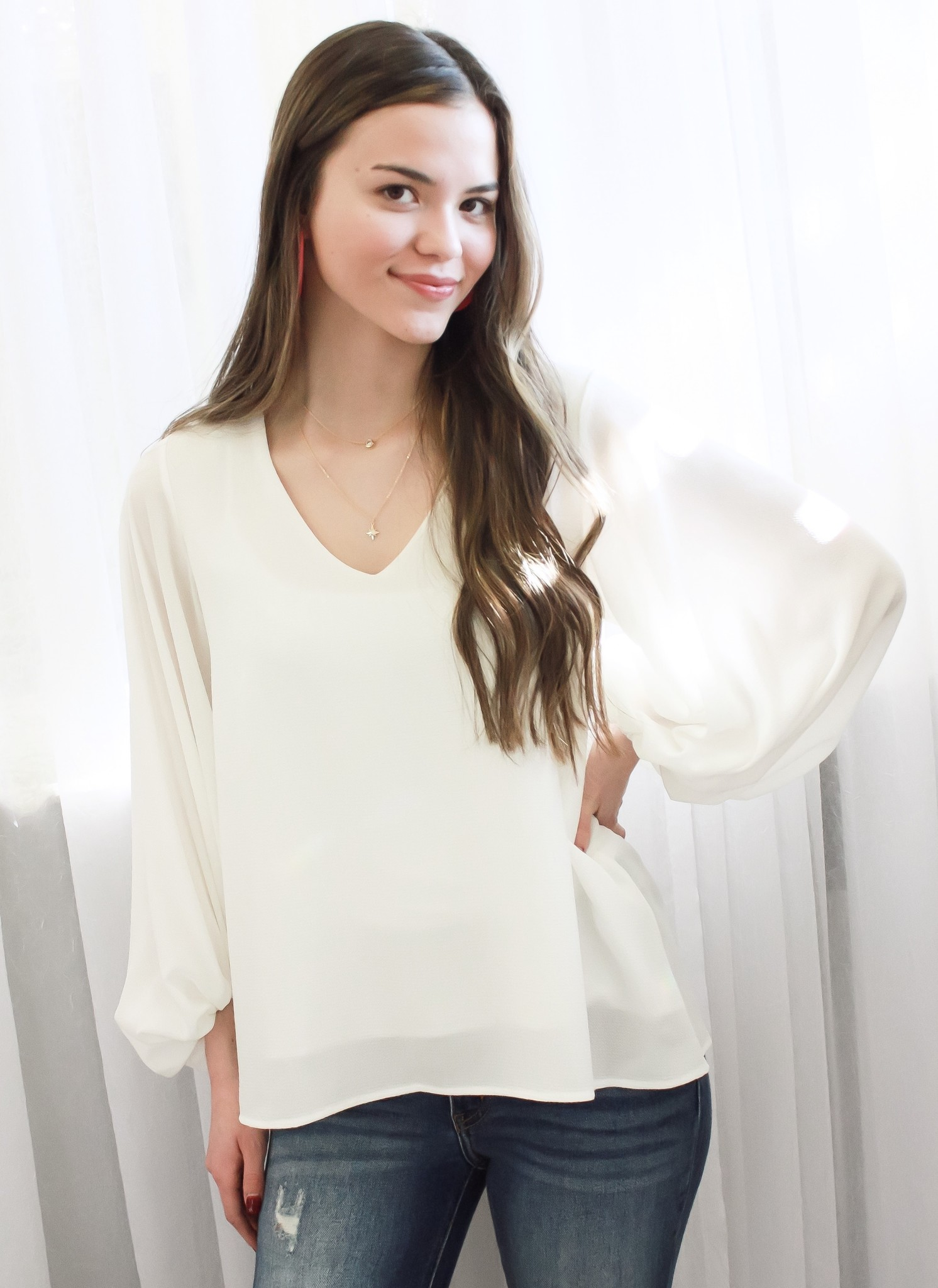 Off White Bubble Sleeve Top