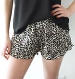Black Leopard Print Satin Shorts
