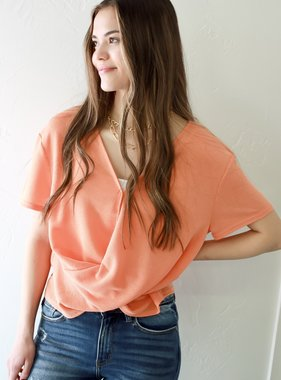 Cantaloupe Crossed Hem Cropped Top