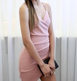 Mauve Wrap Body Con Cocktail Dress