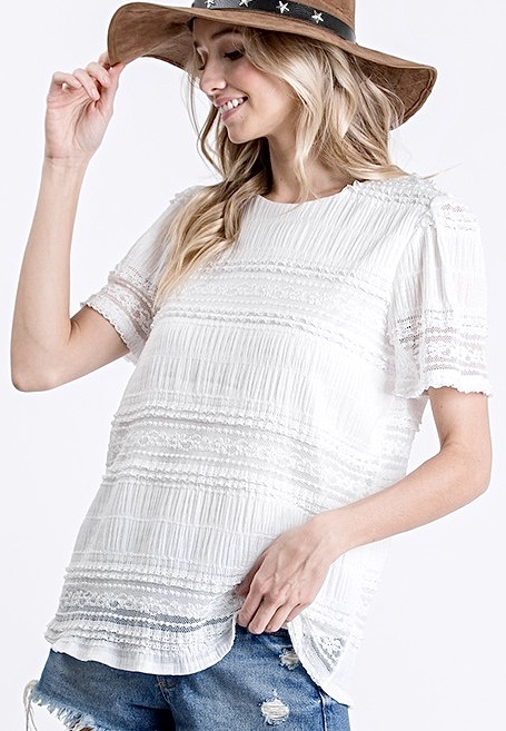 Ivory Lace Detail SS Top