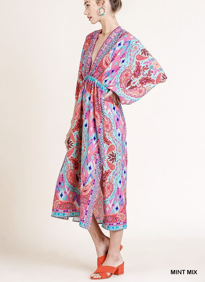 Rose Mix Scarf Print Midi Dress
