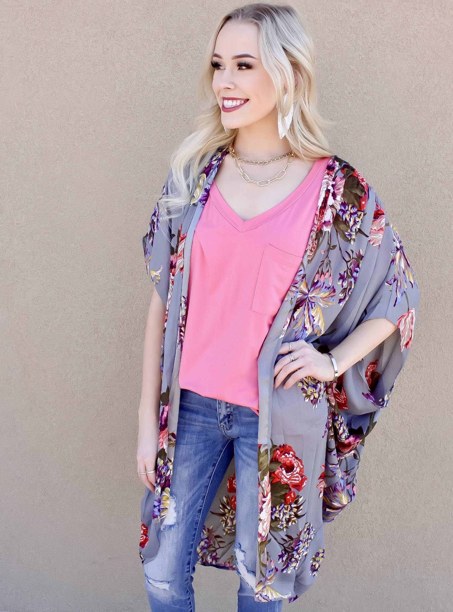 Cool Grey Floral Mix Kimono