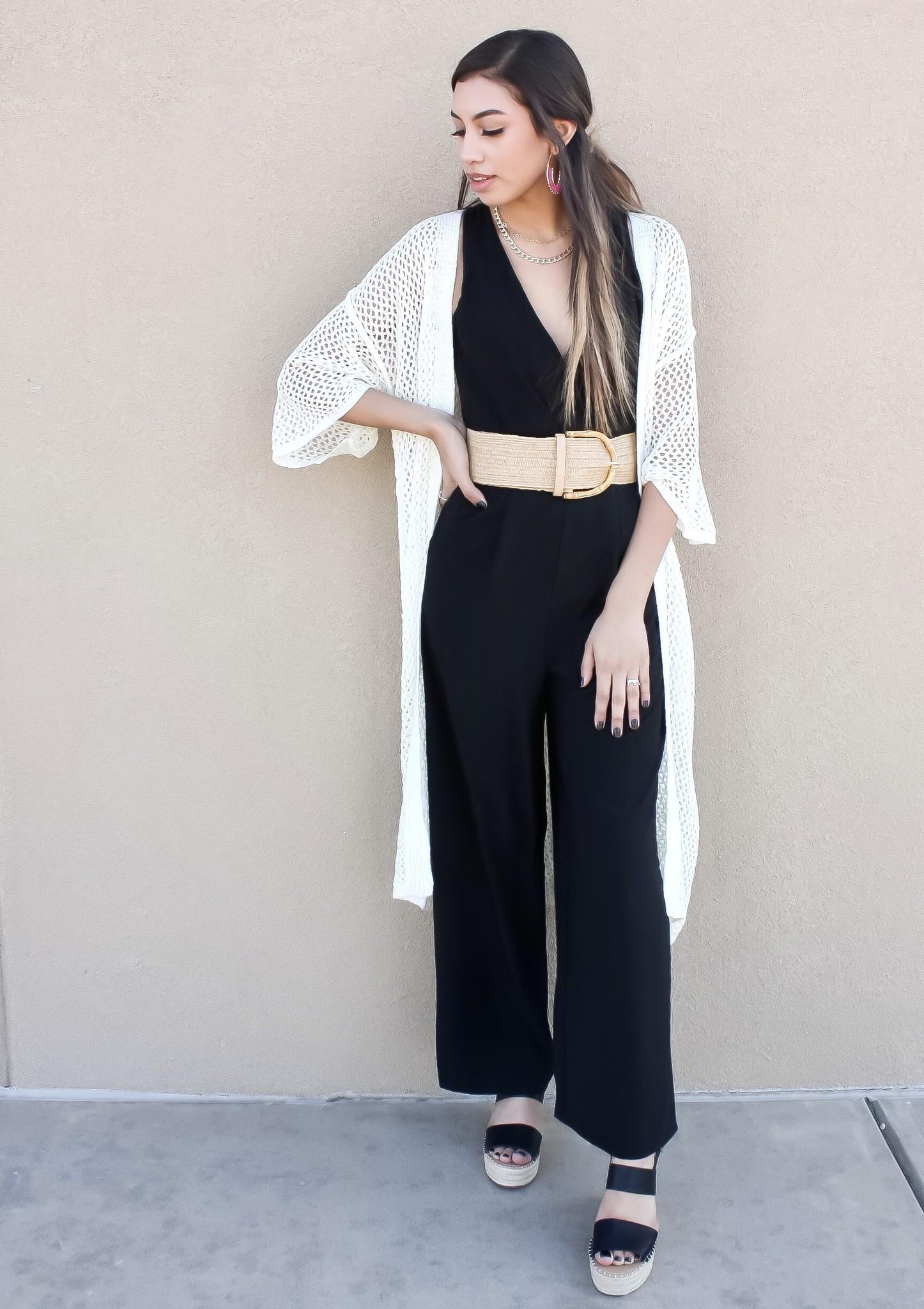 Cream Open Knit Kimono