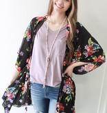 Black Mix Floral Kimono