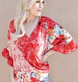 Coral Mix Floral/animal Print Ruffle Top