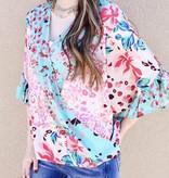 Cyan Blue Mix Floral/Animal Print Ruffle Top