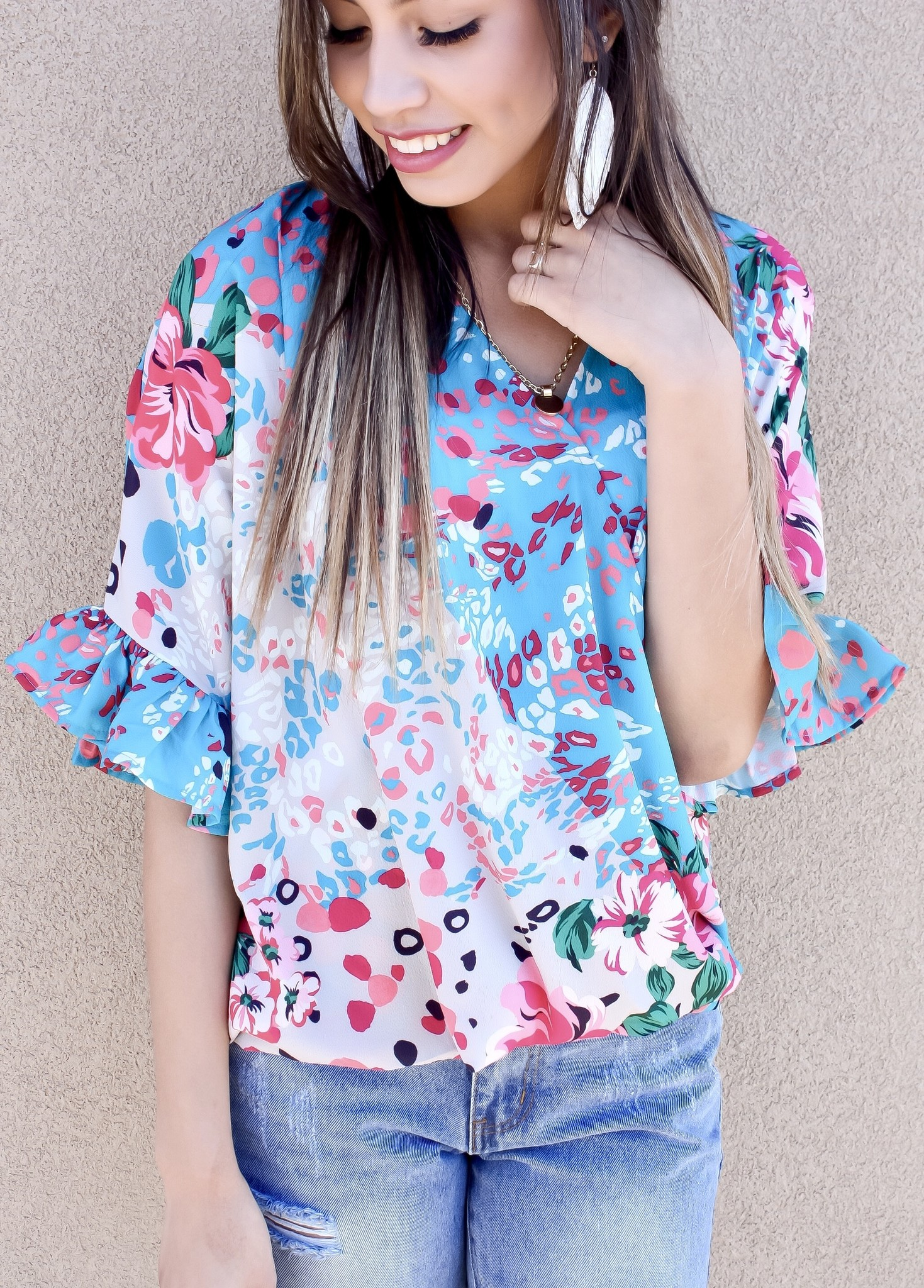 Mint Mix Floral/Animal Print Ruffle Top
