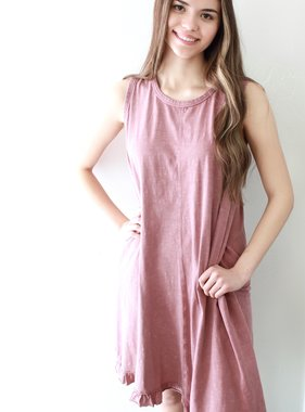 Dried Rose Sleeveless T-Shirt Dress