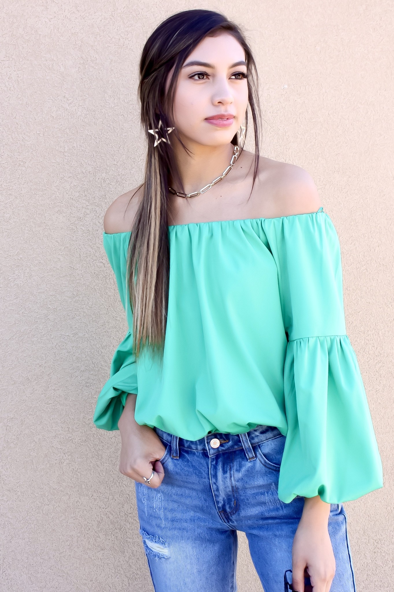 Green Off The Shoulder Bubble Top