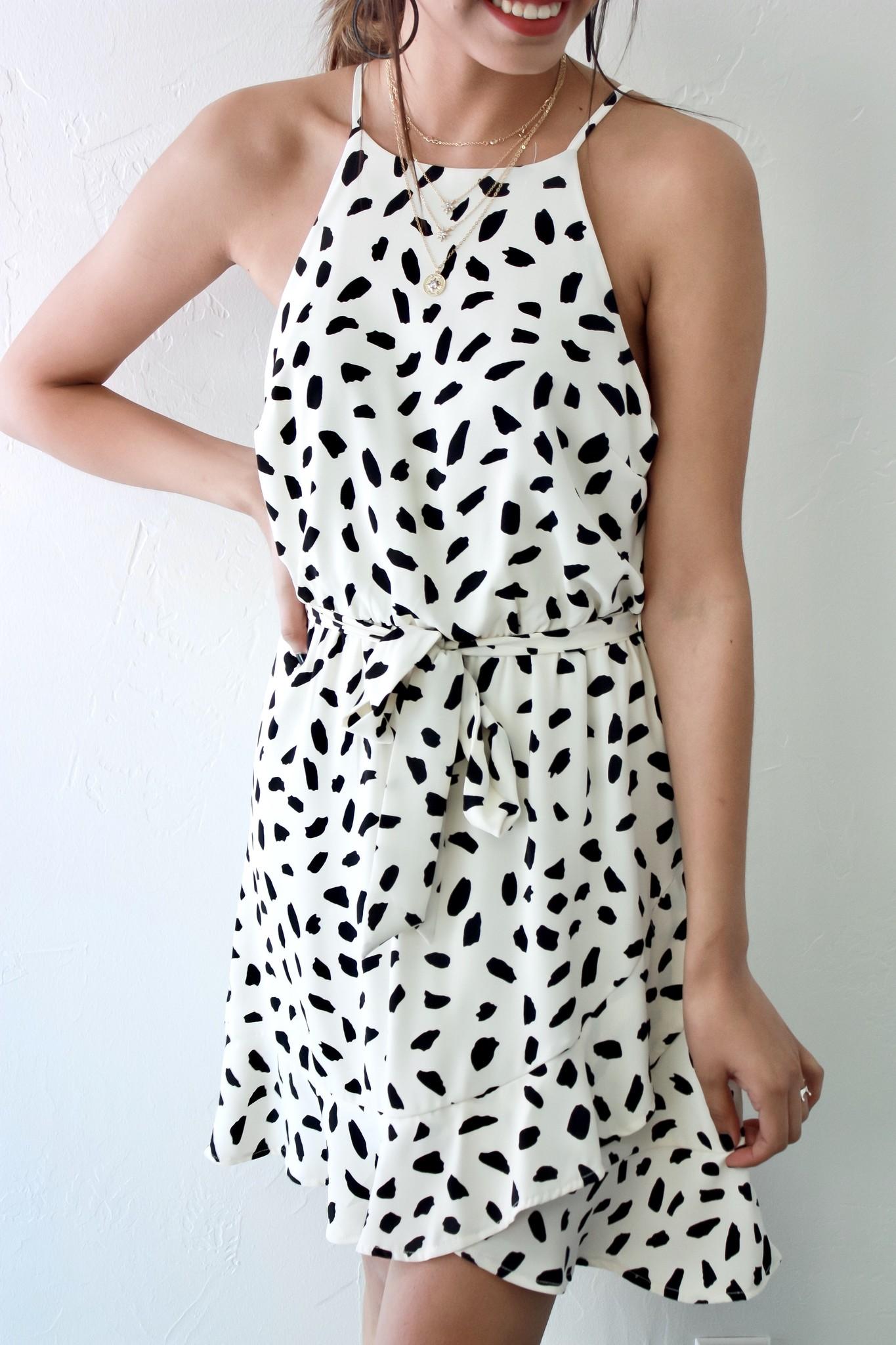 Cream Sleeveless Polka Dot Bubble Dress