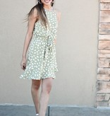 Green Tea Sleeveless Polka Dot Bubble Dress
