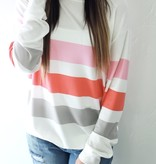 Peach/Pink/Grey Relaxed Top